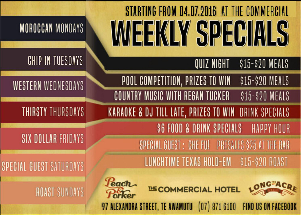 Weekly Specials at The Commercial Hotel